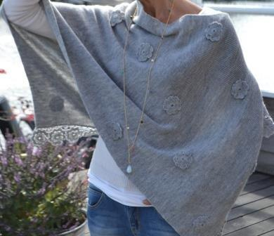 flower poncho grey compressed cropped Lybre Shopping 6